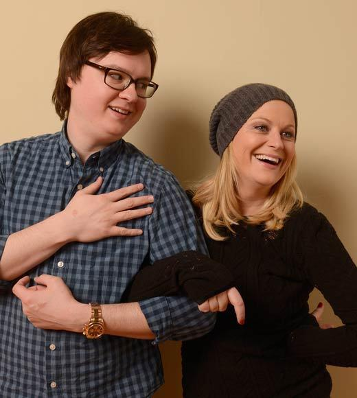 Sundance Film Festival 2013 celebrity sightings: Actors Clark Duke and Amy Poehler pose for a portrait during the 2013 Sundance Film Festival at the Getty Images Portrait Studio at Village at the Lift. They appear together in A.C.O.D.