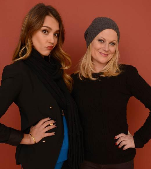 Actresses Jessica Alba and Amy Poehler pose for a portrait during the 2013 Sundance Film Festival at the Getty Images Portrait Studio at Village at the Lift.