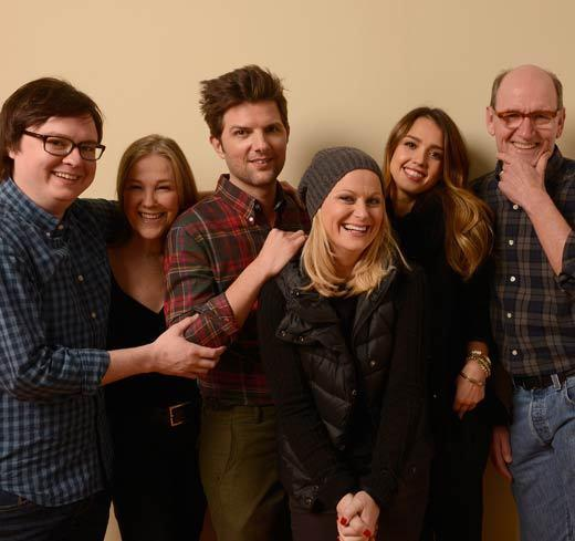 "Actors Clark Duke, Catherine O'Hara, Adam Scott, Amy Poehler, Jessica Alba and Richard Jenkins pose for a portrait during the 2013 Sundance Film Festival at the Getty Images Portrait Studio at Village at the Lift. Their movie ""A.C.O.D."" premieres at Sundance."