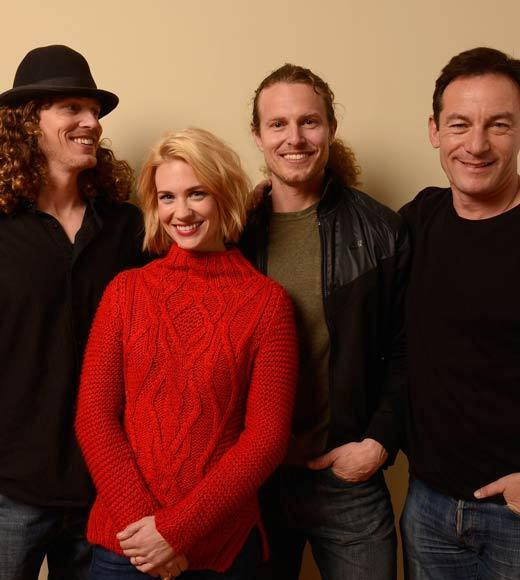 "Director Logan Miller, actors Jason Isaacs, January Jones and director Noah Miller pose for a portrait during the 2013 Sundance Film Festival at the Getty Images Portrait Studio at Village at the Lift. They appear together in ""Sweetwater."""