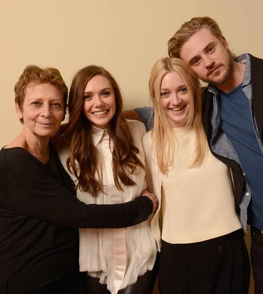 "Director/writer Naomi Foner, and actors Dakota Fanning, Elizabeth Olsen and Boyd Holbrook pose for a portrait during the 2013 Sundance Film Festival at the Getty Images Portrait Studio at Village At The Lift. Their film ""Very Good Girls"" is premiering at Sundance."