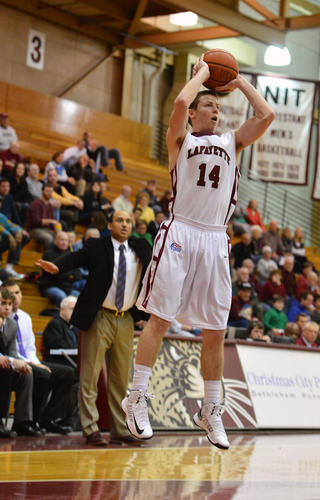 Lafayette's Bryce Scott (14) looks to score against Holy Cross during a men's basketball game at Kirby Sports Center at Lafayette College in Easton on Wednesday.