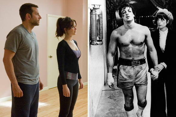 "Here, as in 1976's ""Rocky,"" we find a slightly battered leading man falling for a socially awkward woman. (Rocky may not be mentally ill, but he's certainly brain-damaged by all those fights.) In both, we find obsession with a manly sport, sage advice from a curmudgeonly father figure and Philly! And in the end, losing is winning, especially if you get the girl."