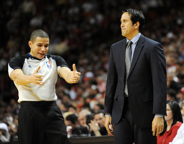 Erik Spoelstra did not agree with the referee's call in late in the game. Toronto Raptors vs. Miami Heat. American Airlines Arena, Miami, Florida.