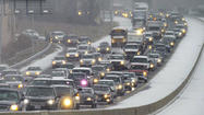 Thursday traffic slowed by accidents on snowy, wet roads