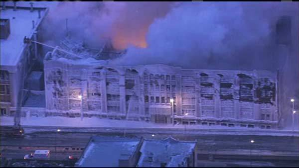 Fire rekindles at warehouse gutted by blaze earlier this week.