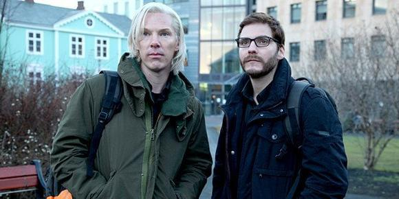 "Benedict Cumberbatch as Julian Assange and Daniel Brühl as Daniel Domscheit-Berg in ""The Fifth Estate."""