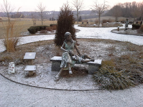 The mother and child statute at Annie's Playground got a light dusting of snow overnight Wednesday, as did the rest of Fallston and Bel Air.