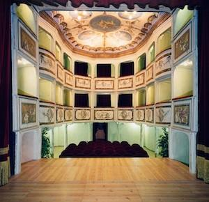 The small, historic theater at Vetriano, Italy, not far from Florence.