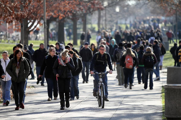 Students walk through the Quad at the University of Illinois at Urbana-Champaign last November.