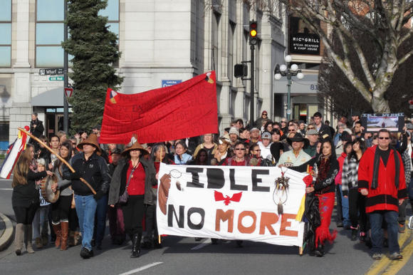 Idle no more protesters marching along Government Street in British Columbia, Canada on Dec. 21. A similar demonstration is planned for Saturday in Petoskey.