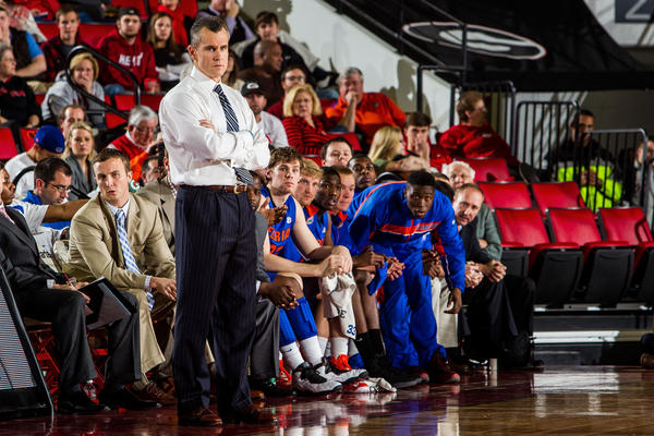 Florida Gators head coach Billy Donovan watches gameplay in the first half against the Georgia Bulldogs at Stegeman Coliseum.