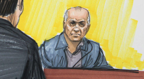 Courtroom sketch shows David Coleman Headley in federal court in Chicago.