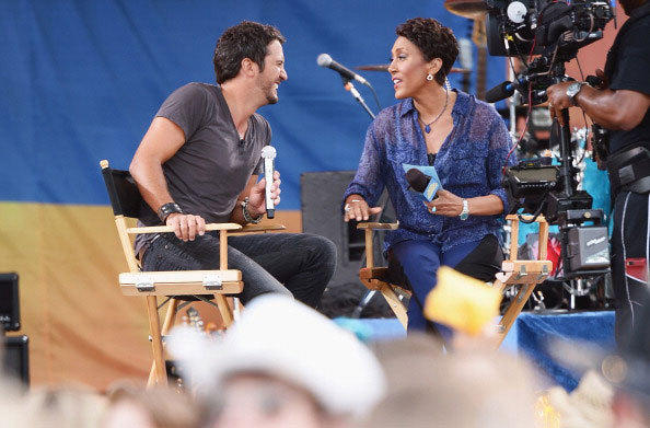 GMA Co-Host Robin Roberts interviews Musician Luke Bryan on ABC's 'Good Morning America' at Rumsey Playfield, Central Park on July 13, 2012 in New York City.