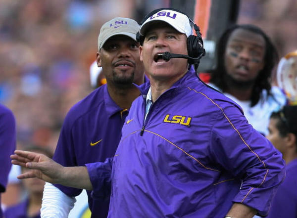 LSU coach Les Miles reacts during fourth quarter action of their game against Florida at Ben Hill Griffin Stadium on Saturday, October 06, 2012 in Gainesville, FL. (Joshua C. Cruey/Orlando Sentinel)