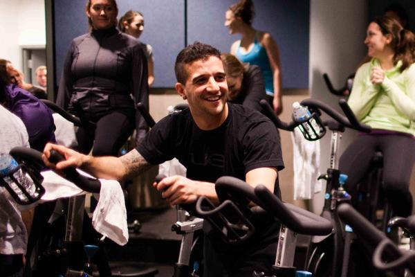 """Dancing with the Stars"" alum Mark Ballas hosts an indoor cycling class co-sponsored by Silk Pure Almond Jan. 22, 2013 at Flywheel in the Gold Coast."
