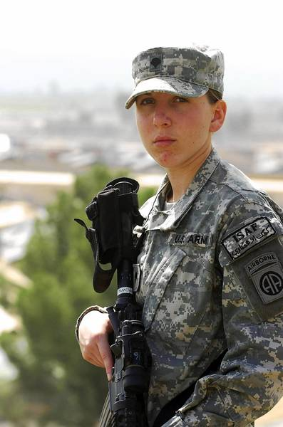 Army Spc. Monica Brown, a medic from the 782nd Brigade Support Battalion, 4th Brigade Combat Team, 82nd Airborne Division, stands over Forward Operating Base Salerno in Khowst province, Afghanistan in this August 3, 2010 DOD handout photo. Brown is the second woman since World War II to earn a Silver Star for gallantry in combat.