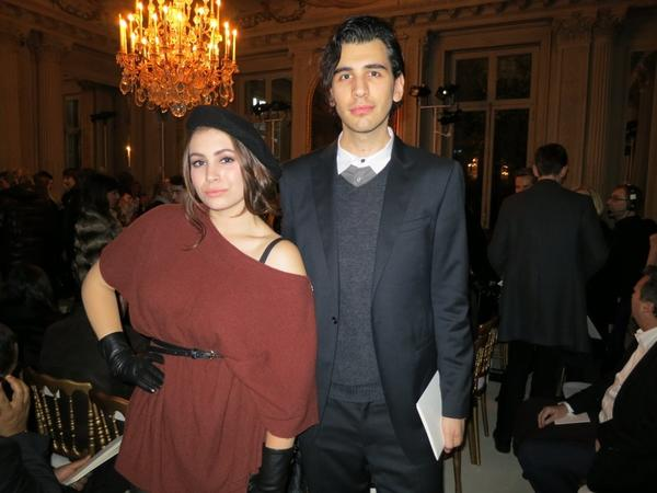 Siblings Sophie and Nick Simmons, the children of KISS rocker Gene Simmons and Shannon Tweed, pose at the Valentino Spring-Summer 2013 haute couture show in Paris.