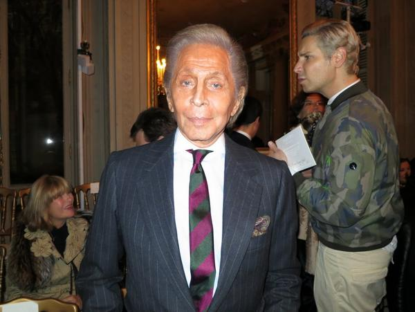 Valentino Garavani attends the Paris haute couture show put on by the house of Valentino.
