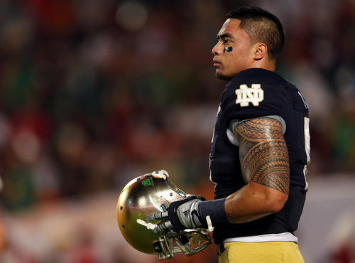 Manti Te'o on the field before the start of the BCS championship game vs. Alabama.