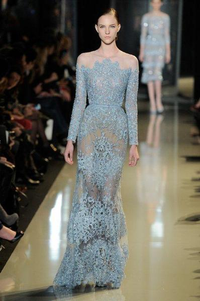 A model shows off a red-carpet-worthy Elie Saab gown during the Paris haute couture shows.