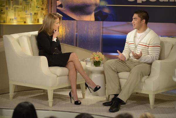 Manti Te'o is interviewed by Katie Couric.