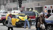 A cab driver was injured on Wacker Drive after colliding with a Chicago fire truck on its way to a fire call this morning.
