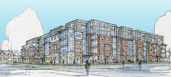 An artist's rendering of the proposed development at Main Street and Route 1 northbound, in the parking lot of the MARC train station.
