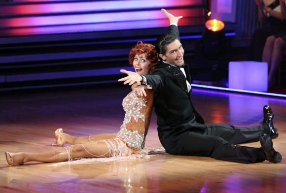 Evan Lysacek and partner Anna Trebunskaya on Dancing with the Stars.  (ABC / Adam Larkey)