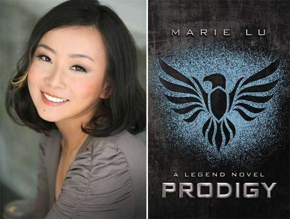 "Author Marie Lu and the cover of her novel, ""Prodigy: A Legend Novel""."