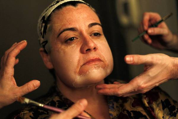 "Mezzo soprano Jill Grove is made up as the witch character before going on stage in ""Hansel and Gretel,"" staged Monday, Jan.14, 2013 by Lyric Opera of Chicago at the Civic Opera House."