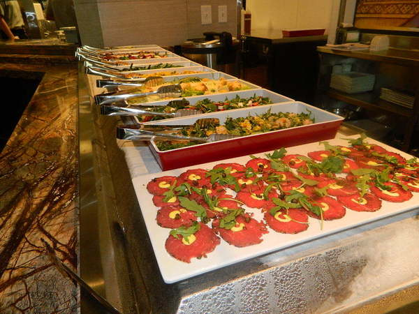 The salad bar at Santo's Modern American Buffet and Sushi.