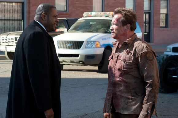 "Forest Whitaker stars as Agent John Bannister and Arnold Schwarzenegger stars as Sheriff Ray Owens in Lionsgate Films' ""The Last Stand.'"