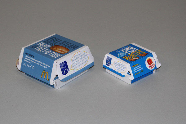 "McDonald's restaurants will now sell fish sandwiches and ""McBites"" in boxes with a blue Eco-label from the Marine Stewardship Council. It has agreed to audits to verify its fish comes only from Alaskan pollock, certified by the council as sustainably caught."