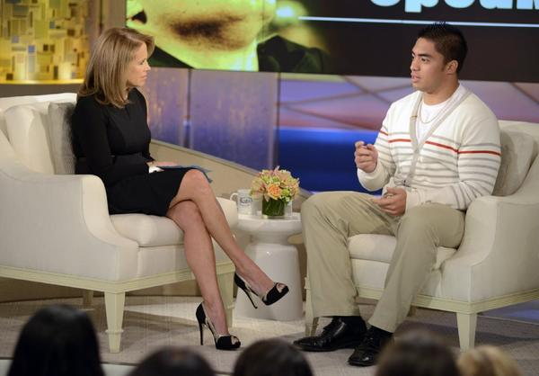 Manti Te'o talks to Katie Couric on her interview show.