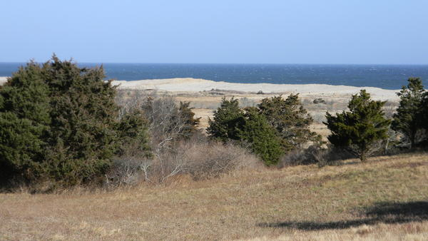 The view from the top of Cape Cod's Pochet Island out to the dunes of Nauset Beach and the Atlantic Ocean.