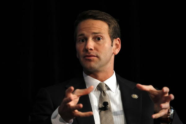 Rep. Aaron Schock, seen here in September at a George W. Bush Institute forum at the Art Institute in Chicago.