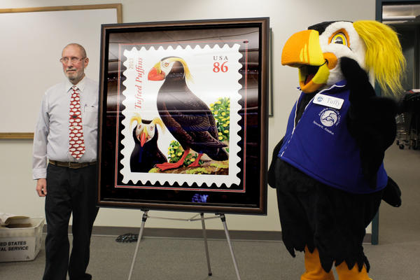 USPS unveiled the puffin stamp in Seward, Alaska on Jan. 23, 2013.