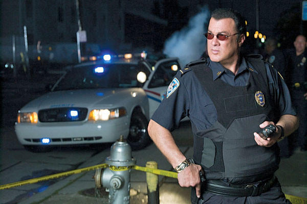 "Steven Seagal on the set of ""Steven Seagal: Lawman."" The 60-year-old actor is lending some star power to the tiny sheriff's department whose coverage includes the U.S.-Mexico border."