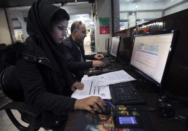 Internet cafe in Tehran, Iran