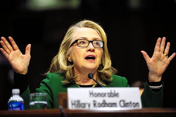 Secretary of State Hillary Rodham Clinton testifies before the Senate Foreign Relations Committee on the attack on the U.S. diplomatic mission in Benghazi, Libya, last year.