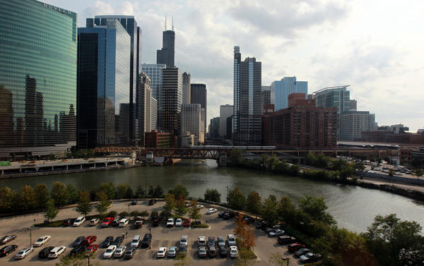 The Chicago river and skyline are seen from Wolf Point in 2012.