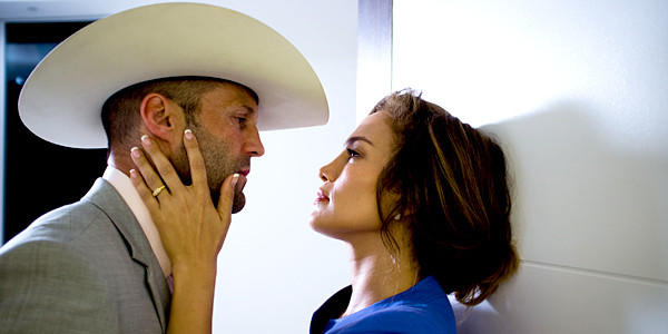 "Jason Statham, left, and Jennifer Lopez in a scene from ""Parker."""