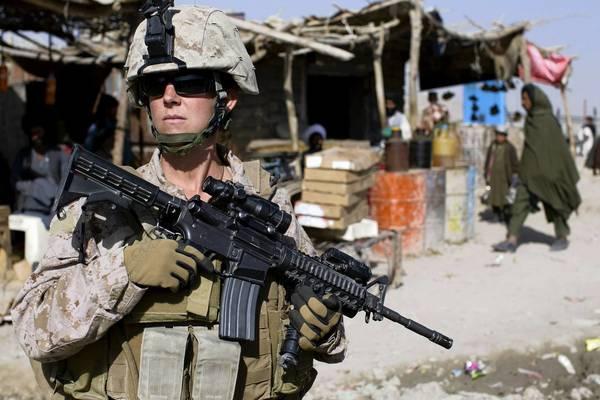 A female U.S. Marine on patrol in Afghanistan in 2010.