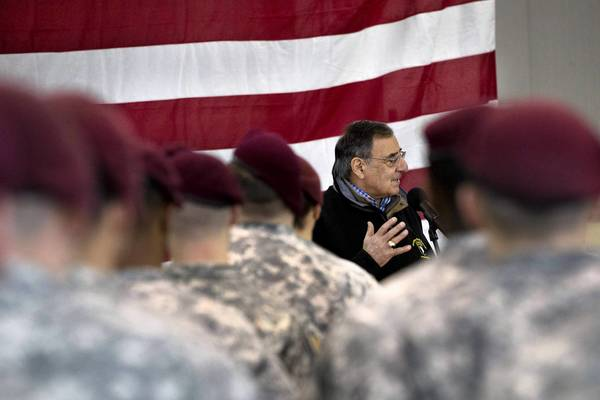 "Defense Secretary Leon Panetta, shown visiting troops in Italy last week, told reporters Thursday he wanted ""to remove as many barriers as possible"" for people to serve in uniform."