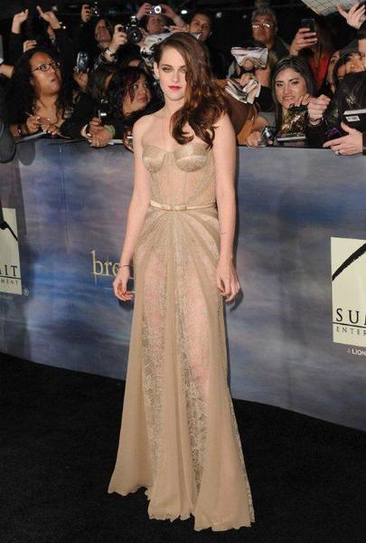 "Kristen Stewart wears a gown by Zuhair Murad to the premiere of ""The Twilight Saga: Breaking Dawn -- Part 2"" in Los Angeles."