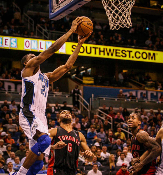 Magic forward Maurice Harkless (21) goes up to the basket during fourth quarter action of a game against the Toronto Raptors at Amway Center in Orlando, Fla. on Thursday January 24, 2013.