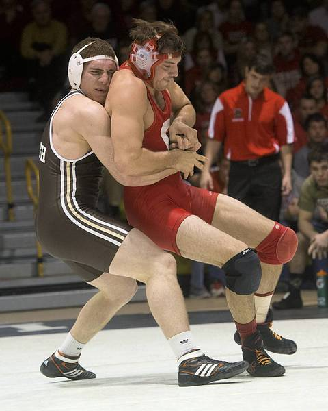 Lehigh University's John Bolich (left) takes on Cornell's Jace Bennett during 197 pound weigh class wrestling at Grace Hall on Sunday January 6, 2012.