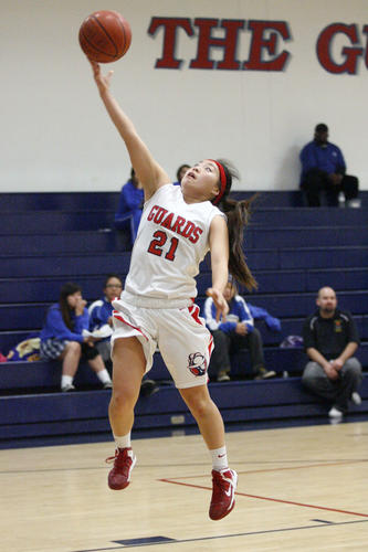 Bell-Jeff's Tiffany Kho makes a layup during a game against St. Mathias at Bellarmine-Jefferson High School in Burbank on Thursday, January 24, 2013.