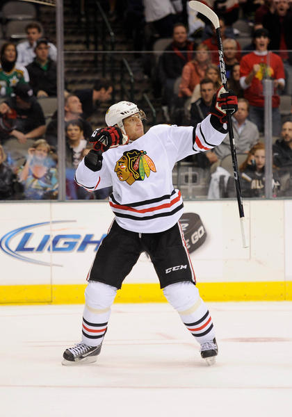 Marian Hossa celebrates his game-winning goal for the Blackhawks.